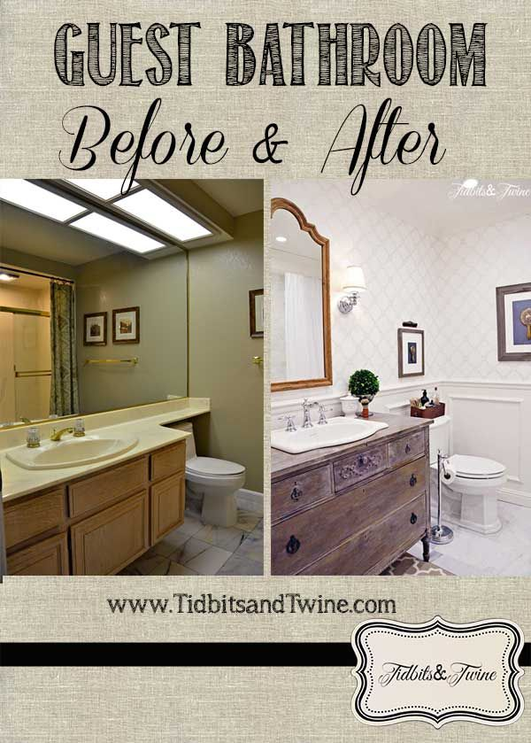 A look at my bathroom transformation from builder-grade to beautiful!  Details at www.tidbitsandtwine.com