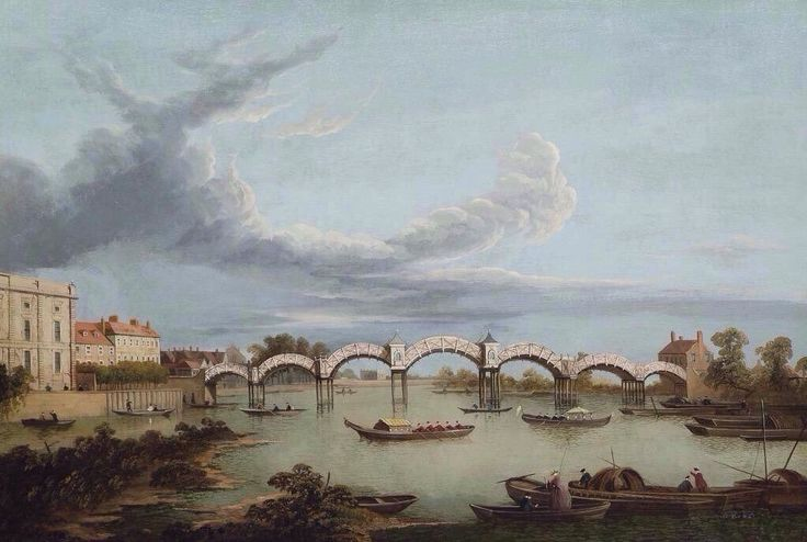 Prospect of the Thames at Hampton Court in the 18th Century showing the original chinoiserie bridge.
