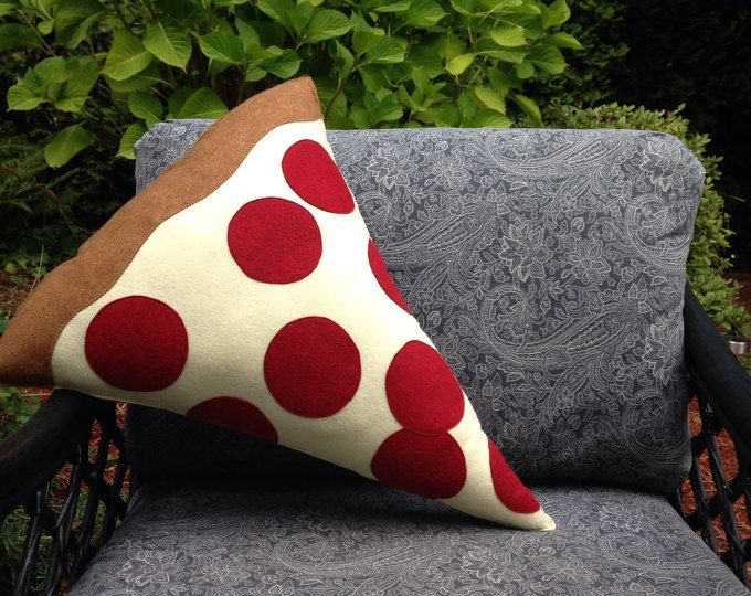 Pizza Pillow , Pepperoni Pizza Plush, Geeky felt stuffed plush toy pillow   This plush measures approximately 22H x 18W at the largest points   The perfect geeky and unique gift, toy, or decoration. Looks great in a game room, nursery, childrens room or anywhere else that could use a funky plush. I have made all my own original patterns and machine sewn each plush with care. **Something you dont see? Custom orders are welcomed! Please send me a message if you are interested in a different…