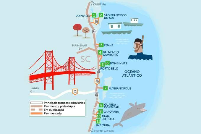 A diversão está garantida de Joinville a Imbituba, seja no Beto Carrero World, nas lindas praias ou nos espontâneos shows das baleias-francas