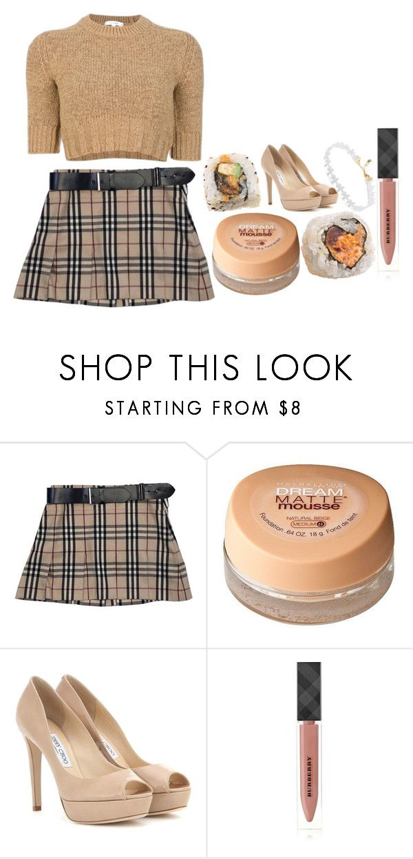 """GLAMOROUS ///FERGIE"" by velvet-baby ❤ liked on Polyvore featuring Burberry, Maybelline and Jimmy Choo"