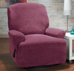 Hanover Merlot Recliner Slipcover. Plush, velvety surface, contemporary, modern upholstery for home decor, form fit slip cover design, living room, interior design