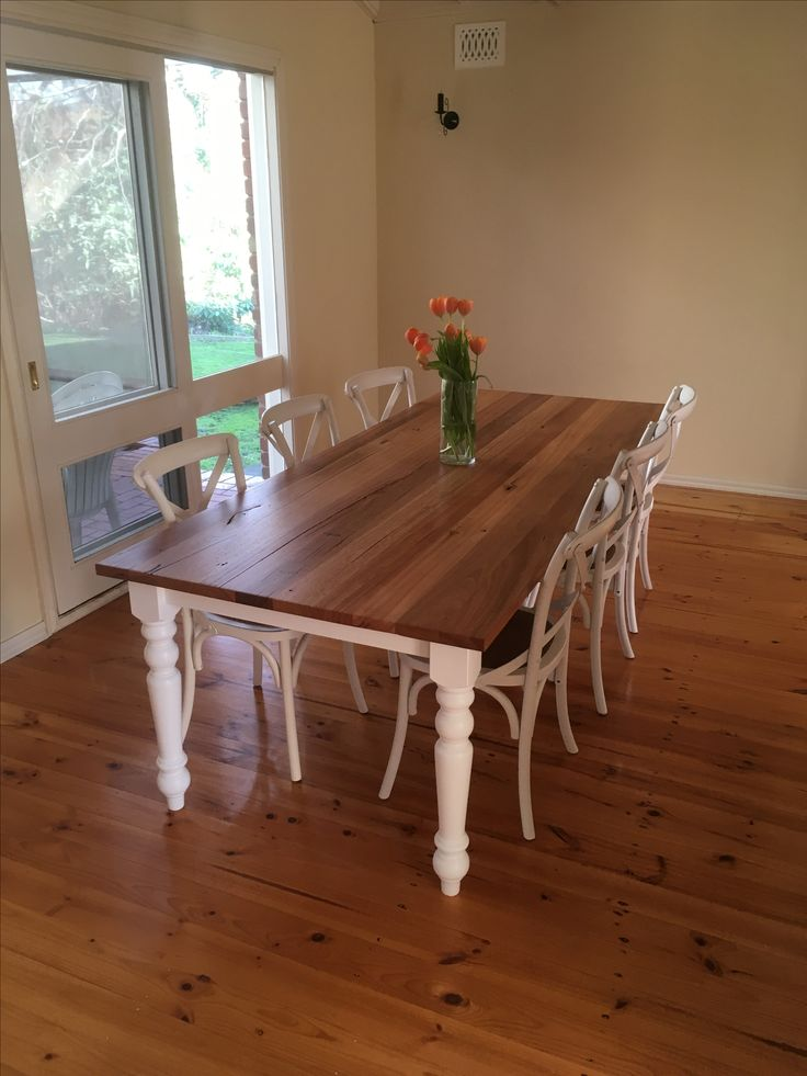 Farm house modern chic  Recycled timber dining table.  Turned legs  2400 x 1000