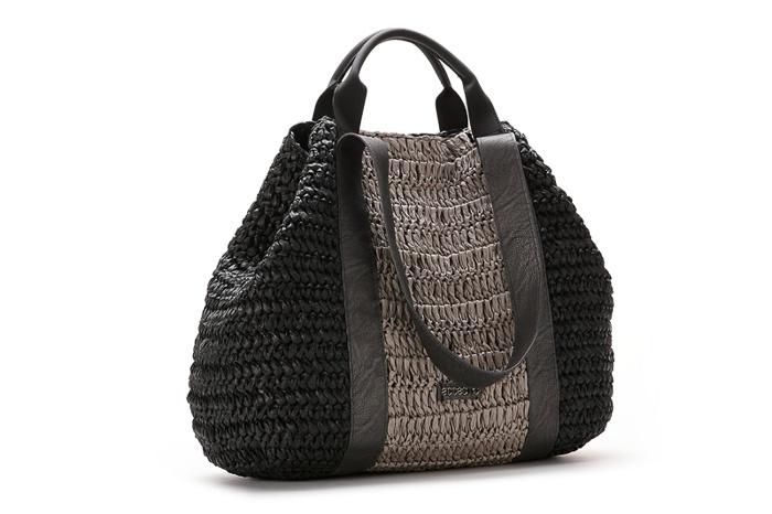 Bag raffia black / Bolso saco rafia negro