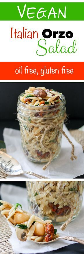 Italian Orzo Salad | www.veggiesdontbite.com | #vegan #chickpeas #sundriedtomatoes #spinach #orzo #mushrooms