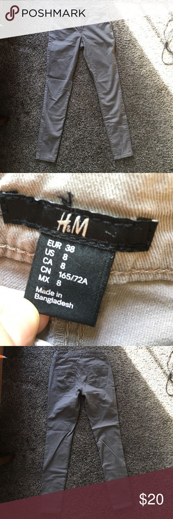 Khaki skinny jeans Comfy, slightly stretchy khaki colored skinnies frlm H&M. Only worn once. Great condition H&M Pants Skinny