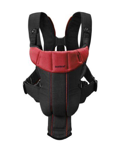 BabyBjörn Active - Mochila portabebé de mezcla de algodón, color negro y rojo
