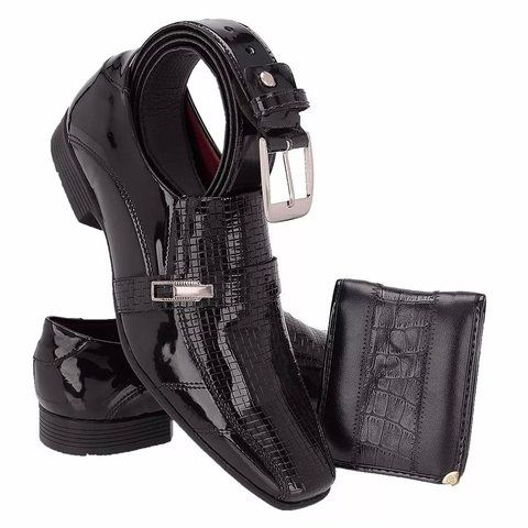 Sapato Social Envernizado Masculino Khaata+cinto E Carteira