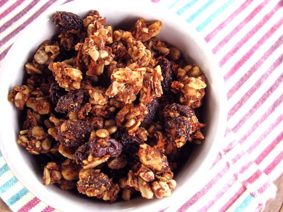 Carrot Cake Granola (Grain/Sugar/Egg/Gluten/Dairy Free)? Nuts/seeds, seed flour, grated carrot, applesauce/honey/coconut aminos, sultanas. Optional: coconut flakes, buckinis, cacao nibs.