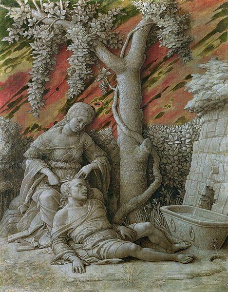 1495.Andrea Mantegna  (1431-1506) Dalia und Samson.oil on canvas.47×37 cm.National Gallery.