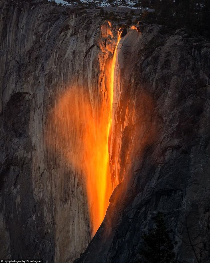 Photographers around the world flocked to Yosemite National Park in California this week to catch the incredible natural phenomenon known as Firefall. This photo, taken on Valentines Day shows a subtle heart shape caused by the mist of Horsetail Falls