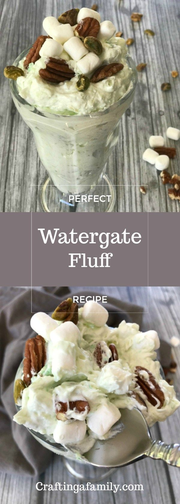 Serving a big bowl of fluffy pistachio Watergate Salad reminds me of Christmas, Thanksgiving and the new reports in the 1970″s. But this creamy light delicious side dish (you could say snack dessert) refers to the Washington DC hotel and the nations scandal. Created by Kraft foods as a summer dish to showcase their pistachio pudding mix …