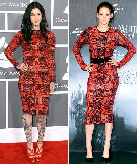 Kristen Stewart and Kat Von D wearing the same red and black dress in their own styles!