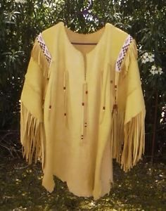 buckskin clothing | Native American Handmade Beaded Buckskin Leather Shirt | eBay