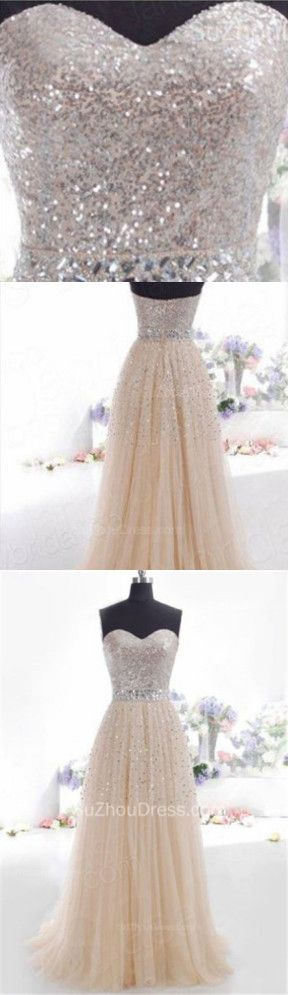 2015 Prom Dresses Sleeveless Sequins Sash A Line Chiffon Zipper Crystal Charming Evening Gowns.
