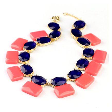 Korean Fashion Elegant Alloy Square Round Crystal Chain Bib Necklace[US$27.85]