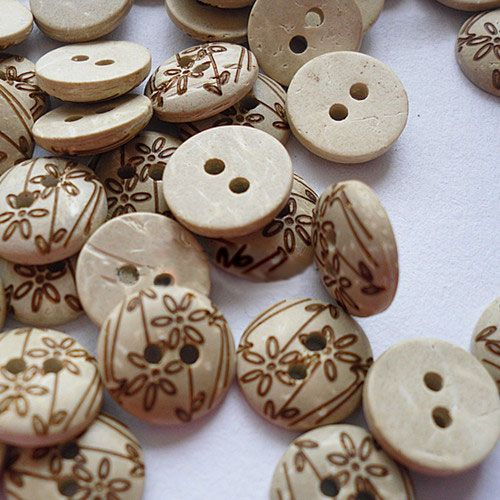Carved 2-hole Basic Sewing Button., Coconut Button, Khak