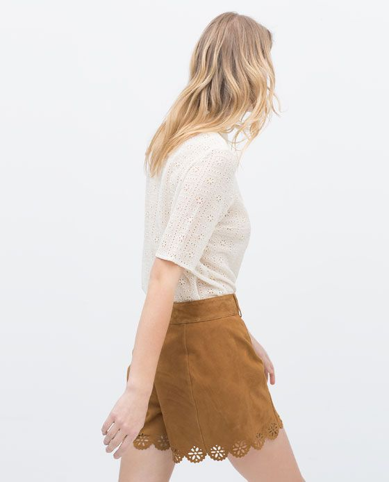 Image 3 of SUEDE CUTWORK SHORTS from Zara