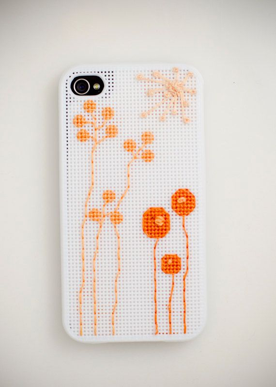 Cross Stitch iPhone 4  4S Case - Orange Flower. $22.00, via Etsy.