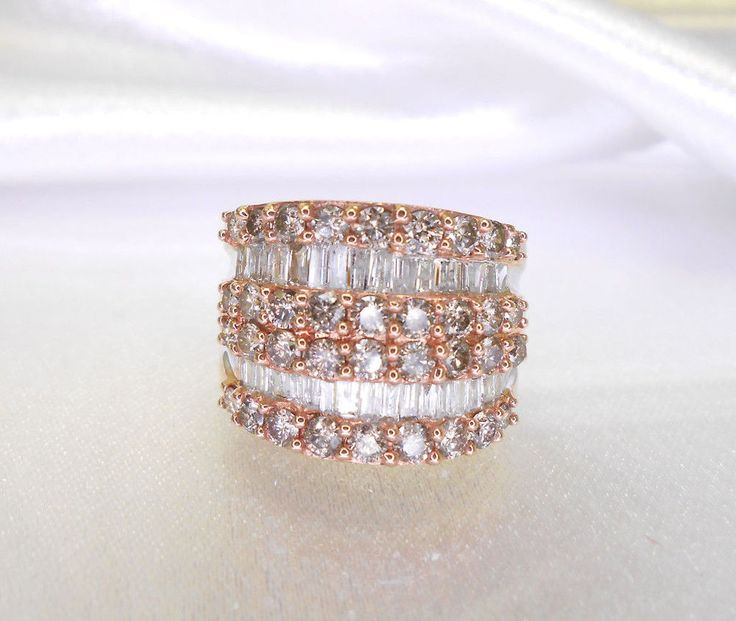 10K Yellow and Rose Gold, Champagne and White Diamond Cocktail Ring, Size 6 #Ring