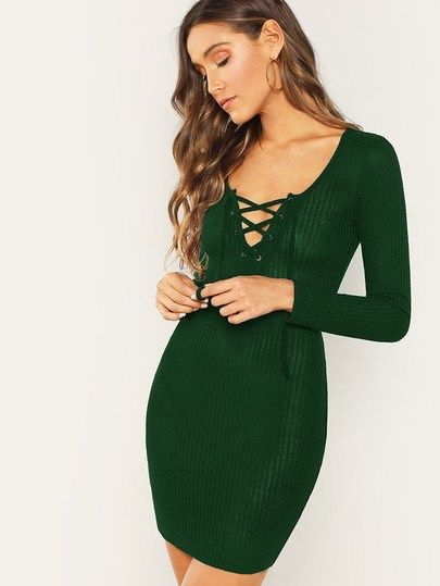 Lace Up Front Rib-knit Bodycon Dress in 2019  4e3267b07