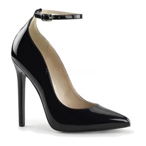 Sexy 23 is a shoe that's true to its name. This daring pointed toe pump features a stiletto heel and an ankle strap for a secure fit.
