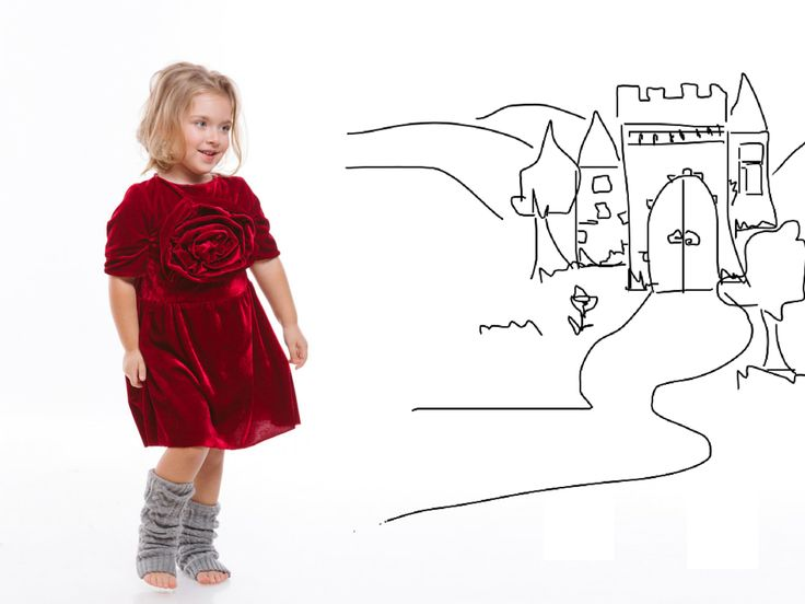 Looks like a fairytale but is a fairytale dress. The red velvet dress from fairytale collection designed for urban Cinderella. Designers for kids, fashion for kids inspired from fairytales and urban stories and suitable for urban processes...