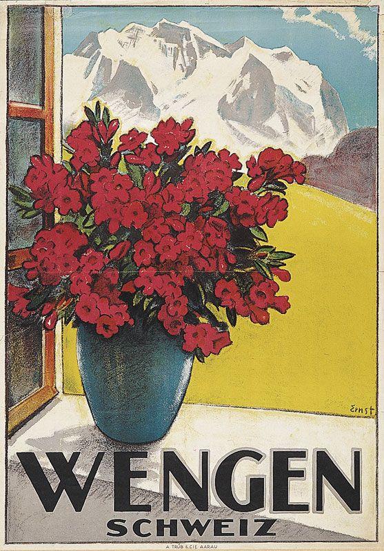 Vintage Travel Poster - Wengen - Switzerland - by  Ernst Otto.