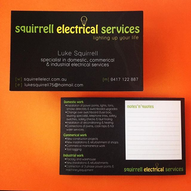 KK's lighting-up a 'quick logo' & business cards that allow quoting'n'noting when out in the field. #functionalgraphicdesign #businesscards #electrician #graphicdesigner #practicaloverpretty #userfriendly #problemsolving #designtothetrade #flashback #logodesign