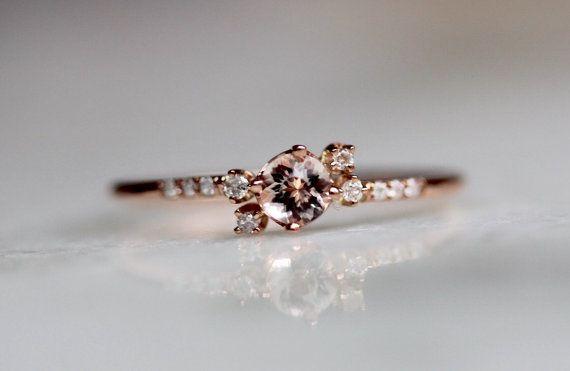 14K Diamond Morganite Cluster Ring, Pave Diamond, Pink Stone, Blush, Rose, Halo Ring, Asymetrical Ring, Solid Gold