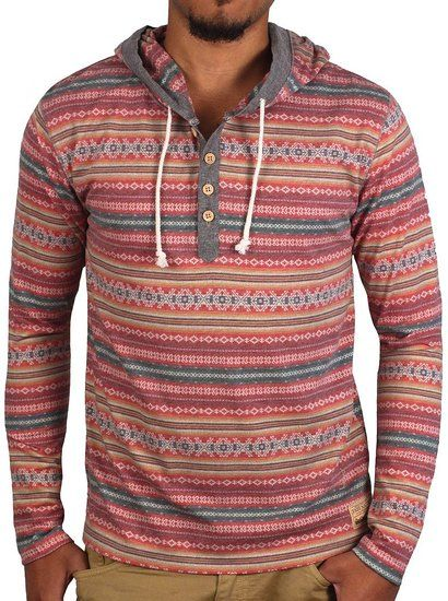 Native Striped Hoodie with Chambray Trim