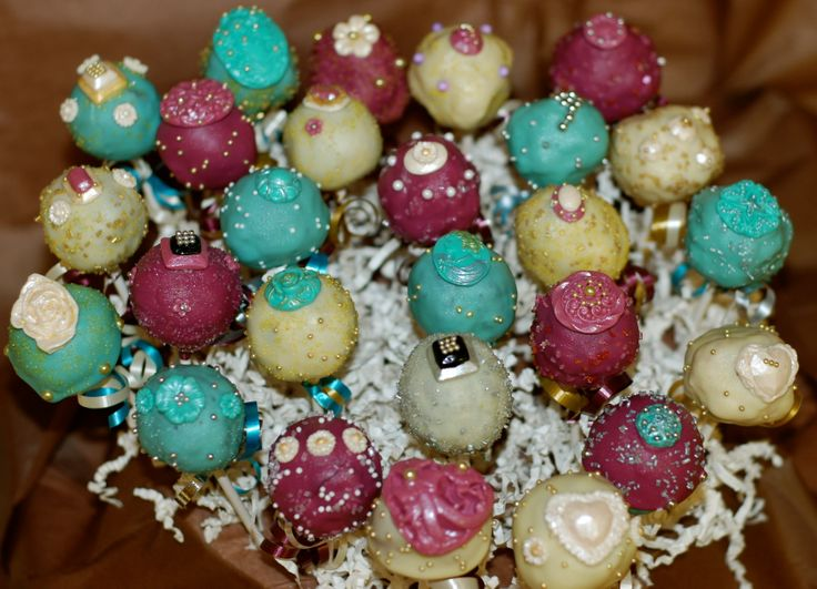 Jewel inspired cake pops for a jewelry store celebration.