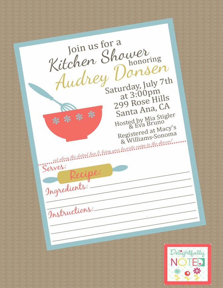 Recipe Bridal Shower Invitations Kitchen Theme. $25.00, Via  DelightfullyNoted On Etsy. Part 53