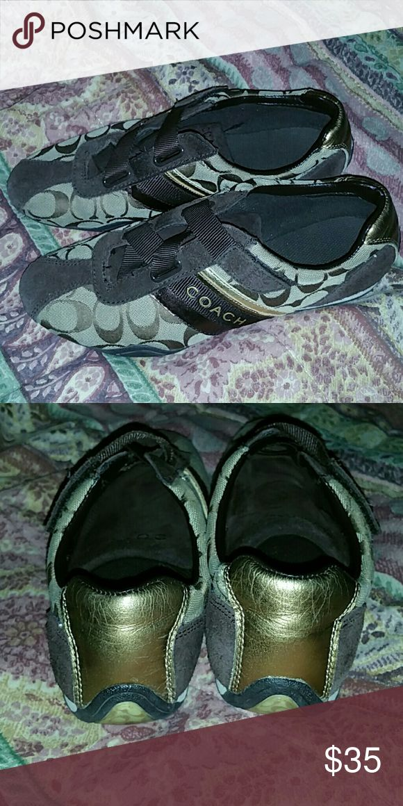 Tennis Shoes Brown Coach Tennis Shoes with Gold Detail. Almost New. Worn 3 times. Coach Shoes Sneakers