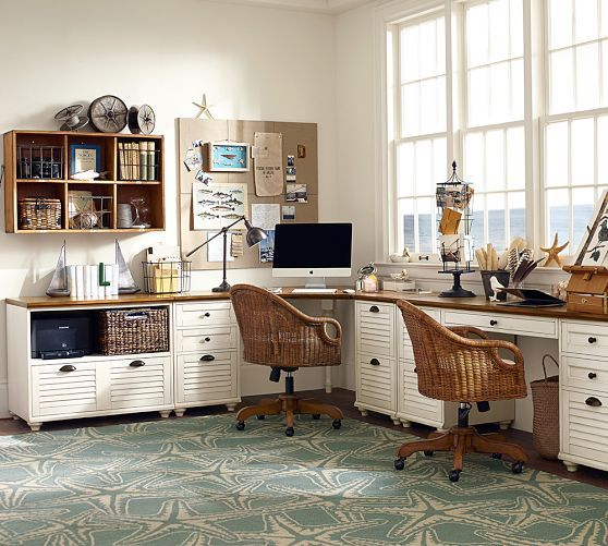 Whitney Corner Desk Set | Pottery Barn have desks maybe get other file cabinet. Need chairs and lighting