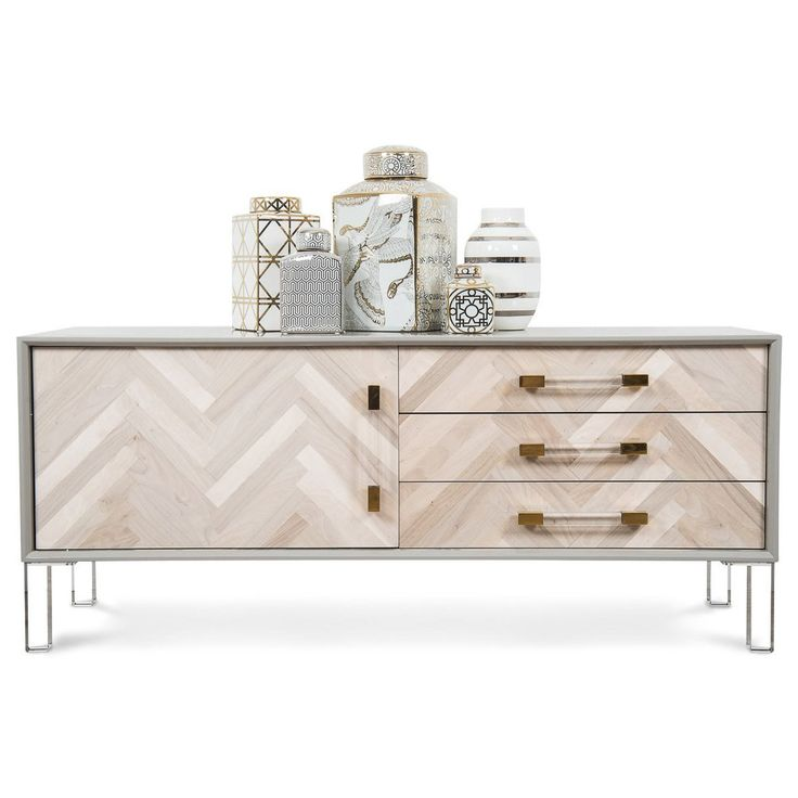 Amalfi 1 Door 3 Drawer Credenza by Modshop | Luxe yet understated at the same time, this beautifully designed credenza would be the centrepiece in any room. We love its recycled wood doors and clear lucite legs that makes it look like its floating. #herringbone #parquetry #floors #recycledwood #credenza #furniture #luxedesign #interiordesign #homestation #interiorsstation #luxuryinteriors