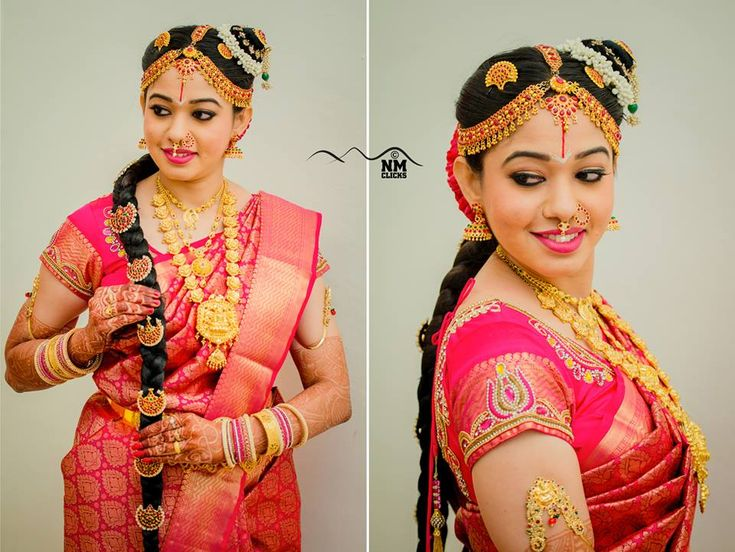 South Indian bride. Gold Indian bridal jewelry.Temple jewelry. Jhumkis.Red and gold silk kanchipuram sari.Braid with fresh flowers. Tamil Brahmin bride. Telugu bride. Kannada bride. Hindu bride. Malayalee bride.Kerala bride.South Indian wedding.Andal.
