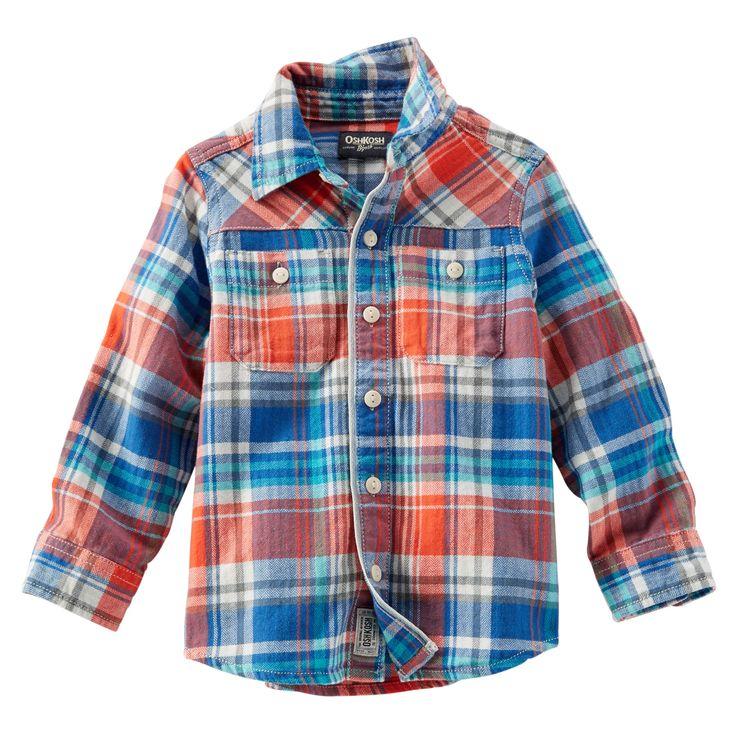 Button-Front Herringbone Shirt