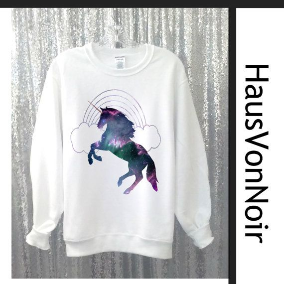 Einhorn Hemd Unicorn Regenbogen Pullover Galaxy von HausVonNoir
