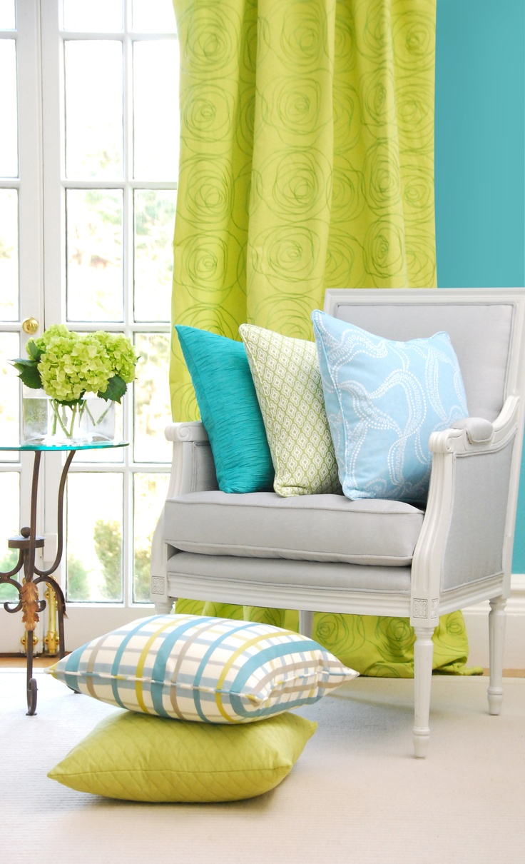 252 best images about decorating with blue green on - Lime green curtains for living room ...