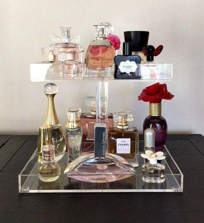 Perfume Storage Holder 2 Tiers Clear Acrylic by AcrylicOrganizers