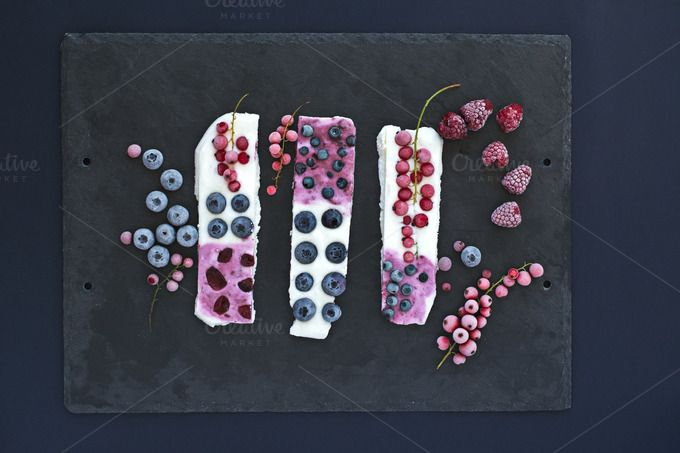 Frozen bars with fruits. Table top. by kawizen  on @creativemarket #dessert #healthy #frozen #fresh #summer #beautiful #closeup #natural #white #bar #bars #fruits #berry #fruit #tasty #berries #sweet #blueberries #currant #delicious #organic #raspberries #frosty #redcurrant #yoghurt #icy #yogurt #refreshing #nutrition #fruity #season #seasonal #tabletop #tabletopview #topview