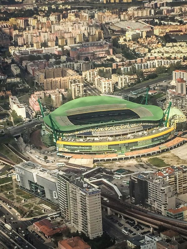 Aerial view of Lisbon Portugal with Sporting Lisbon of Portugal Estádio José Alvalade
