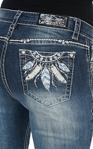 Grace in LA Women's Feathers on Open Pockets Easy Fit Boot Cut Jeans | Cavender's