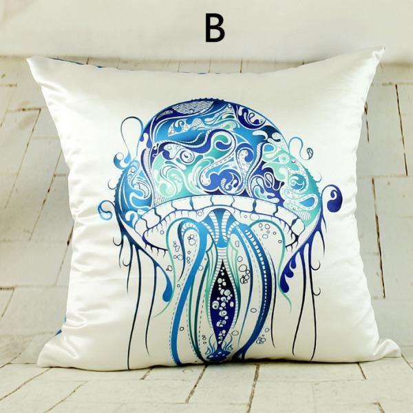 Blue fish throw pillow design sea animal sofa cushions hand painted style Animal pillow ...