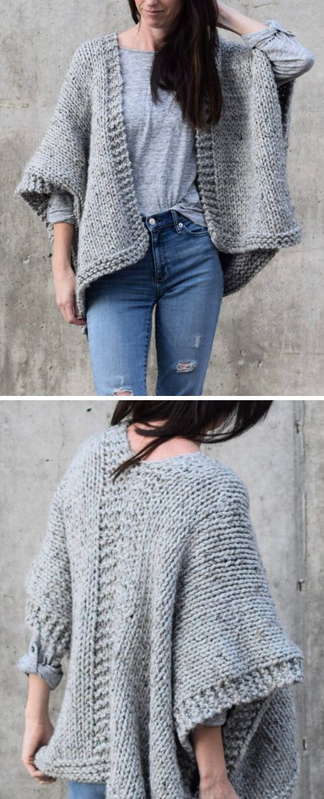 Free Knitting Pattern for Easy Telluride Kimono - This cardigan is knit as two rectangles of knit and purl stitches that is then seamed together. Designed by Jessica Reeves Potasz of Mama in a Stitch who says this is perfect for beginners. Sizes S/M, X/L.  Quick knit in super bulky yarn.