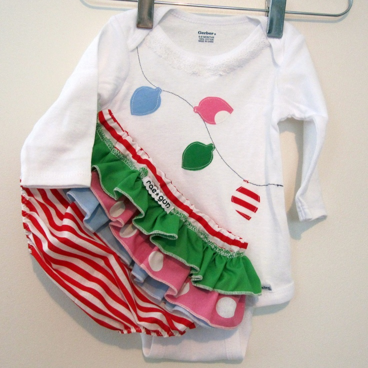 Christmas Lights - Long Sleeve Onesie With Ruffled Bloomers Baby Set. $29.50, via Etsy.
