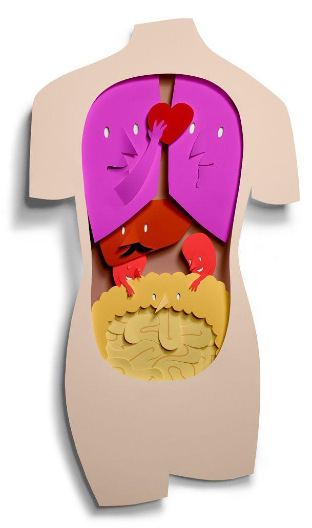 May We Help You? | Bomboland: Body Illustrations, Oprah Magazines, Bomboland, Cut Paper Art, Vibrant Colors, Human Anatomy, Paperart, Cut Paper Illustrations, Human Body