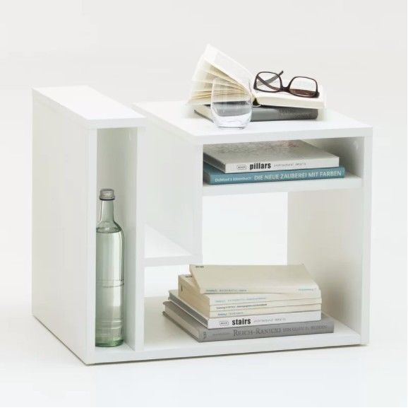 Small Side Table White Wooden Storage Book Shelves Coffee End Modern Room Tables