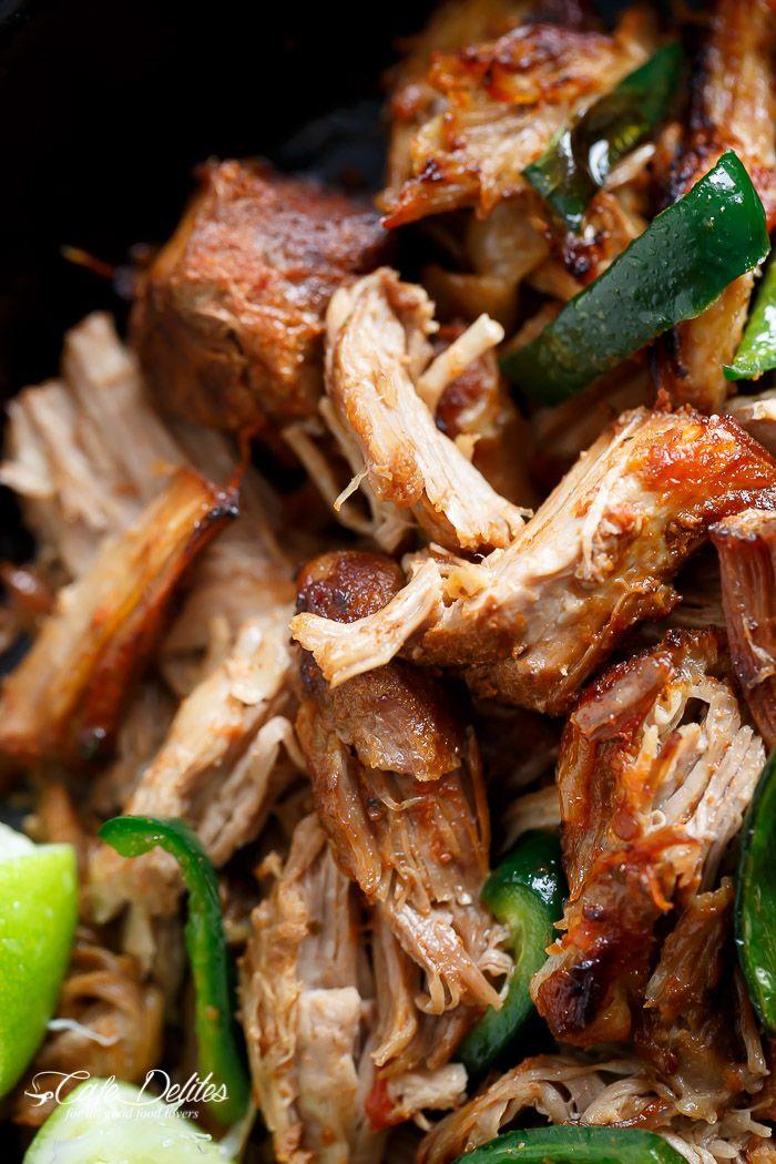 Crispy Slow Cooker Pork Carnitas (Mexican Pulled Pork) | http://cafedelites.com